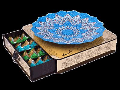 گزمظفری 40% لقمهای مخصوص سفارشی 500 گرمی   جعبه چوب و مینای دستساز انگبینی و بیدمشکی