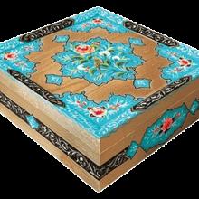 گزمظفری لقمهای ۴۰% پسته بیدمشکی مخصوص  | جعبه چوبی و نقاشی شده دستساز نفیس