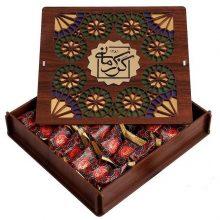 گز کرمانی ۳۸ درصد مغز پسته لقمه جعبه چوبی – ۳۳۰ گرم