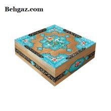 گزمظفری لقمهای ۴۰ درصد پسته بیدمشکی جعبه چوب و نقاشی – ۴۰۰ گرم