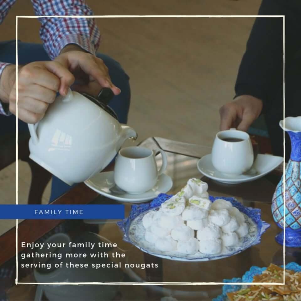 استفاده از گز شیرین برای مهمانی و چایی 28% مغز بادام آردی